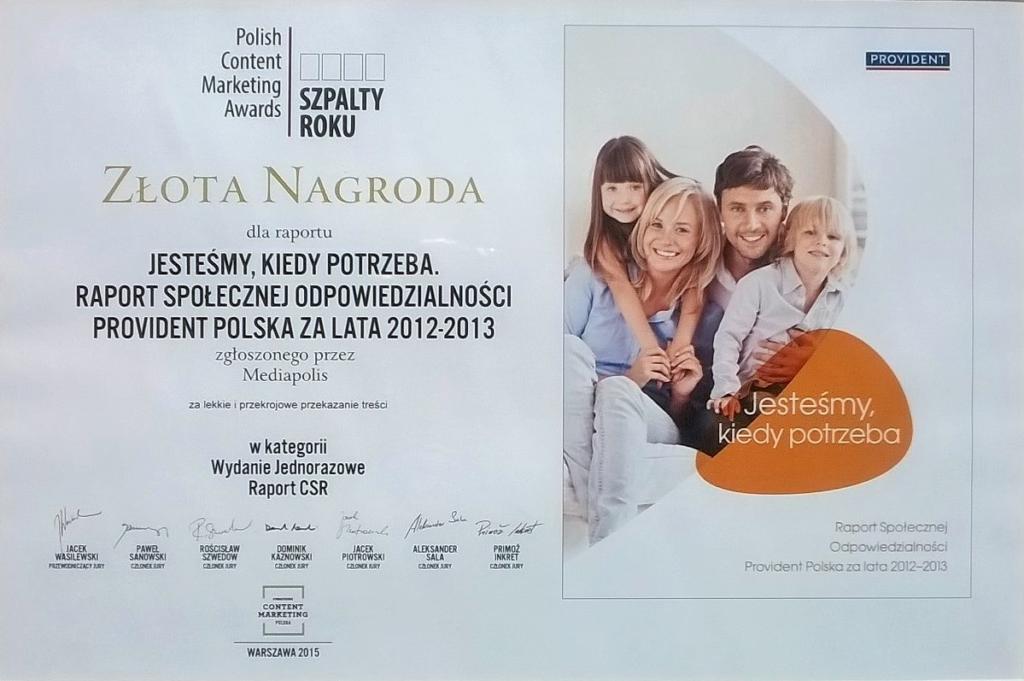 Złota Szpalta Roku dla Providenta - Mojebankowanie.pl