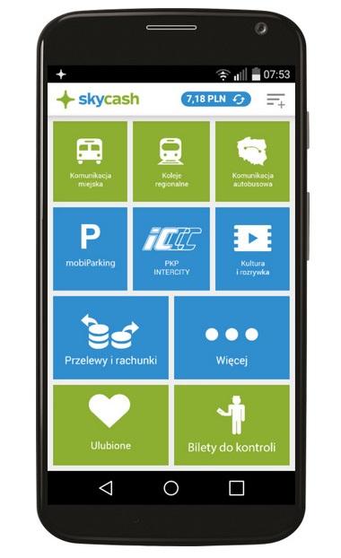 SkyCash - menu główne aplikacji